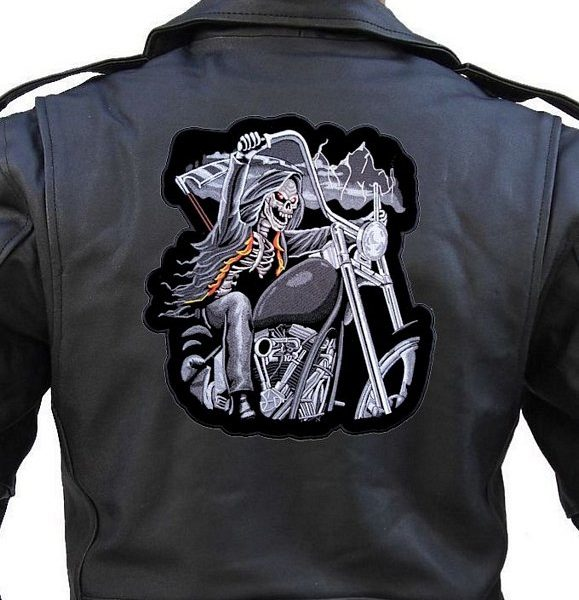 Large biker patch of grim reaper on a motorcycle