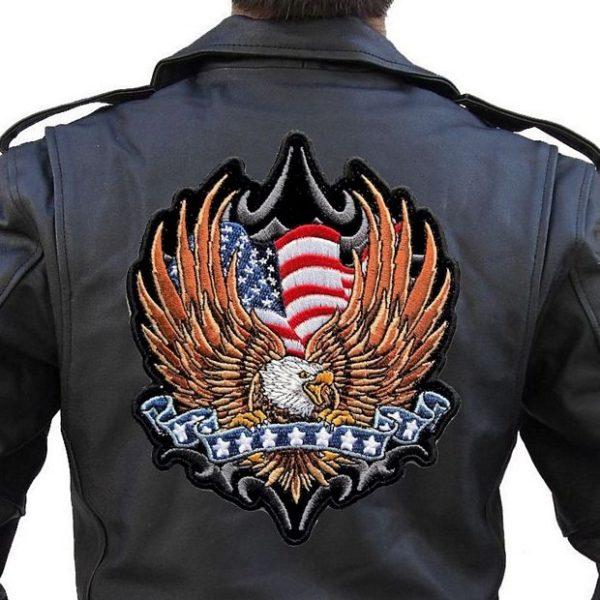 Large patriotic eagle flag biker patch
