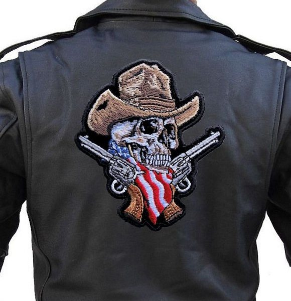 Large rider patch cowboy skeleton