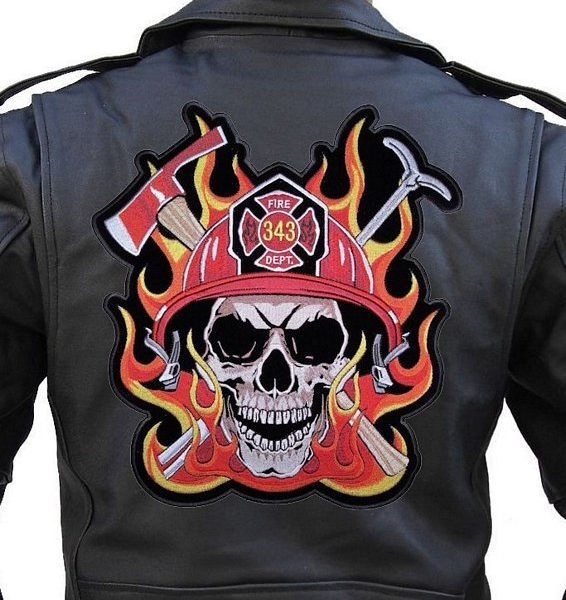 Large rider patch firefighter skull