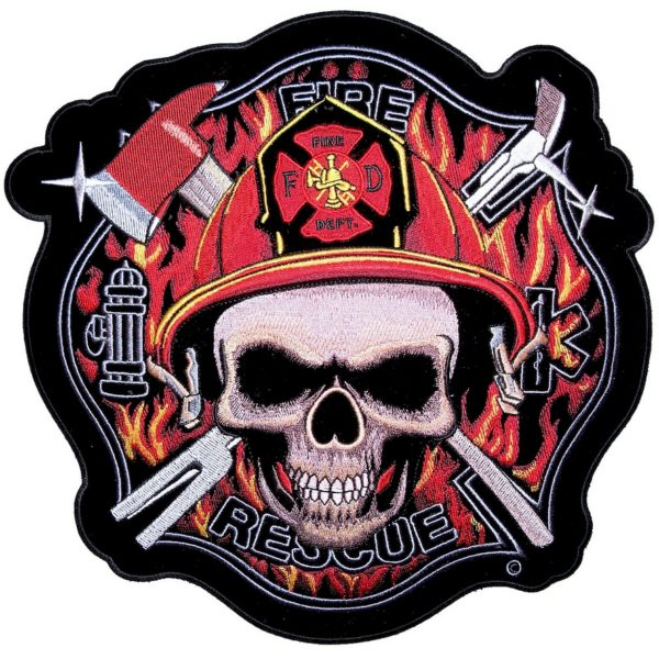 Skull fire fighter patch