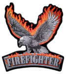 fire fighter eagle and flames patch