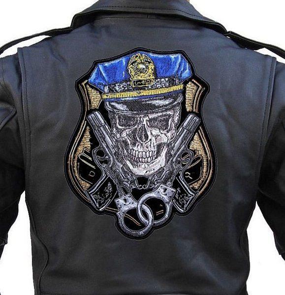 Large biker patch of skull in cop cap