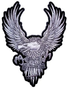 Live free ride hard silver eagle patch