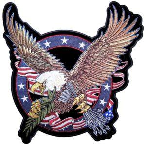 Patriotic bald eagle with arrows patch