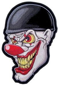 Evil clown face biker patch
