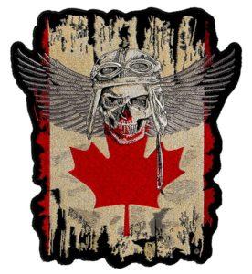 Canadian flag fighter pilot biker patch