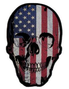 American flag skull biker patch