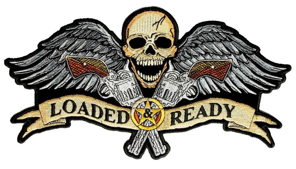Medium Patriotic American Flag Fighter Pilot Skull With Wings Biker Patch