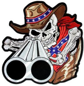 Confederate cowboy skeleton patch