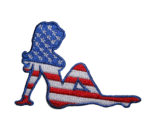 patriotic red white and blue pinup girl patch