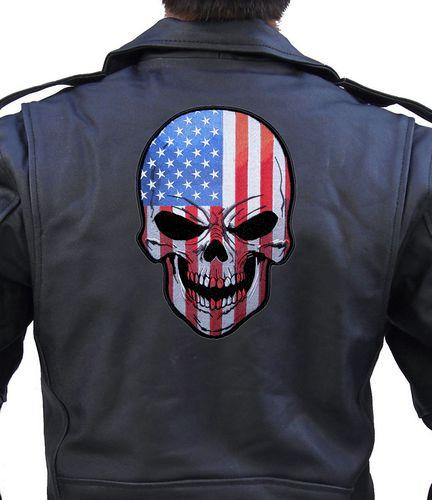 patriotic american flag skull