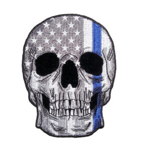 subdued grey american flag skull thin blue line patch