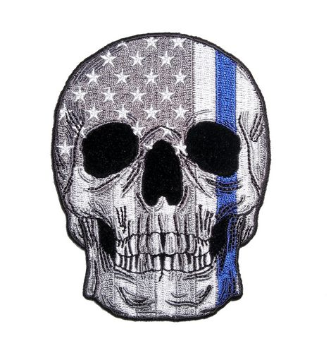 subdued grey american flag skull with thin blue line patch